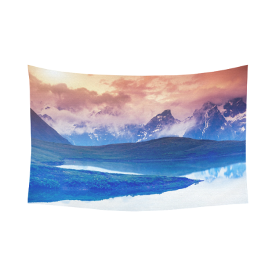 Interestprint Snowy Mountain Tapestry Horizontal Wall Hanging Caucasus Winter Mountains with Lake Wall Decor Art for Living Room Bedroom Dorm Cotton Linen Decoration