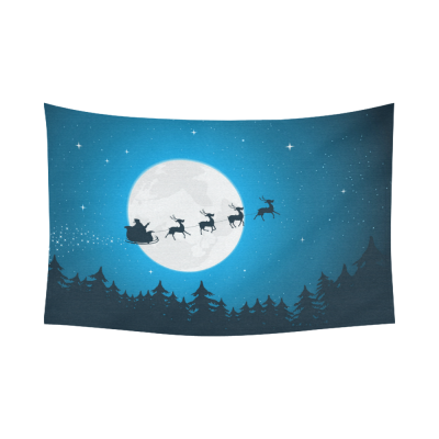 Interestprint Christmas Forest Starry Night Sky Tapestry Horizontal Wall Hanging Santa Claus Sleigh Reindeer Full Moon Moonlight Wall Decor Art for Living Room Bedroom Dorm Cotton Linen Decoration