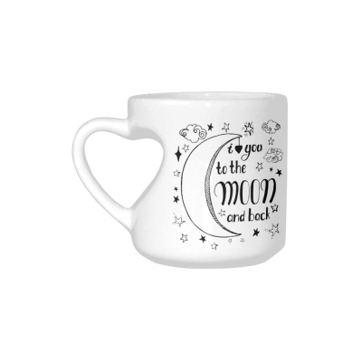 InterestPrint Kitchen & Dining I Love You to the Moon and Back Ceramic Coffee Mug Cup with Love Heart Shaped Handle-White-10.3 oz-Stars Clouds Black Color