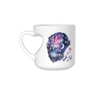 InterestPrint Kitchen & Dining I Love You to the Moon and Back Ceramic Coffee Mug Cup with Love Heart Shaped Handle-White-10.3 oz-Stars Rocket Galaxy Space Purple Blue Colorful