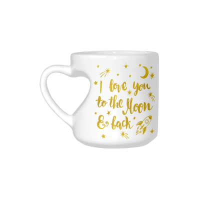 InterestPrint Kitchen & Dining I Love You to the Moon and Back Ceramic Coffee Mug Cup with Love Heart Shaped Handle-White-10.3 oz-Stars Rocket Golden Color