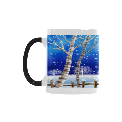 InterestPrint Christmas Eve Snowy Tree Forest with Snowflake Flying over the Blue Sky 11oz Heat Sensitive Color Changing Morphing Coffee Mug Tea Cup Travel, Funny Unique Birthday Gift for Him Her