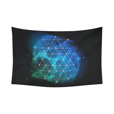 Interestprint Universe Symbol Sacred Geometry Tapestry Horizontal Wall Hanging Green Galaxy Wall Decor Art for Living Room Bedroom Dorm Cotton Linen Decoration