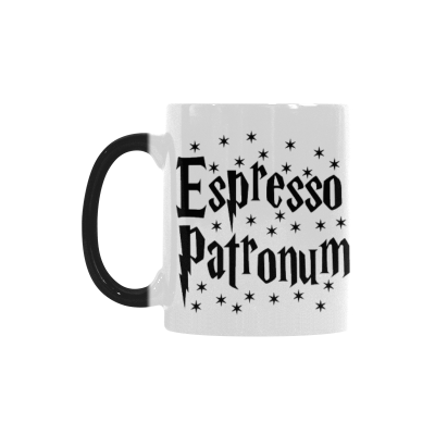 InterestPrint 11oz Espresso Patronum Morphing Mug Heat Sensitive Color Changing Coffee Mug Cup with Quotes, Unique Funny Birthday Christmas Gifts for Men Women Him Her Mom Dad