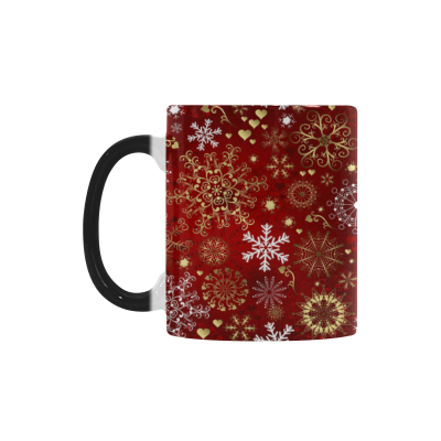 InterestPrint Santa Christmas Snowflake Morphing Mug Heat Sensitive Color Changing Coffee Mug Cup with Quotes, Santa Christmas Snowflake Magic Magical Mug Cup Gift
