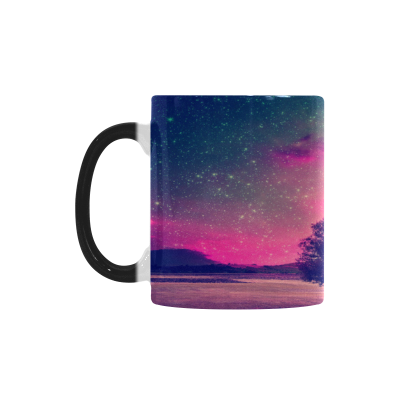 InterestPrint Night Sky Tree Outer Space Galaxy Nebula Morphing Mug Heat Sensitive Color Changing Coffee Mug Cup with Quotes, Starry Night Coffee Mug Travel Mug