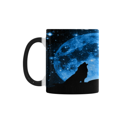 InterestPrint 11oz Black Dreamlike Galaxy Moon Wolf Morphing Mug Heat Sensitive Color Changing Coffee Mug Cup with Quotes, Unique Funny Birthday Christmas Gifts for Men Women Him Her Mom Dad