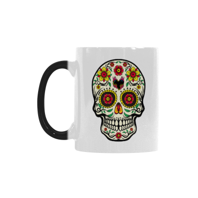 InterestPrint 11oz Mexican Flower Sugar Skull Morphing Mug Travel Heat Sensitive Color Changing Coffee Mug Cup with Quotes, Unique Funny Birthday Christmas Gifts for Men Women Him Her Mom Dad