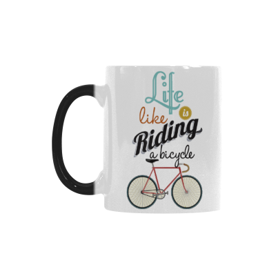 InterestPrint 11oz Life is Like Riding a Bicycle Morphing Mug Travel Heat Sensitive Color Changing Coffee Mug Cup with Quotes, Unique Funny Birthday Christmas Gifts for Men Women Him Her Mom Dad