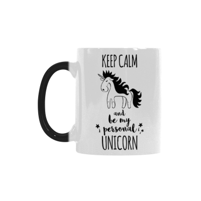 InterestPrint 11oz Keep Calm and be My Personal Unicorn Morphing Mug Travel Heat Sensitive Color Change Coffee Mug Cup with Quotes, Unique Funny Birthday Christmas Gifts for Men Women Him Her Mom Dad