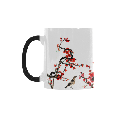 InterestPrint 11oz Spring Cherry Plum Blossom with Bird Morphing Mug Heat Sensitive Color Changing Coffee Mug Cup with Quotes, Unique Funny Birthday Christmas Gifts for Men Women Him Her Mom Dad