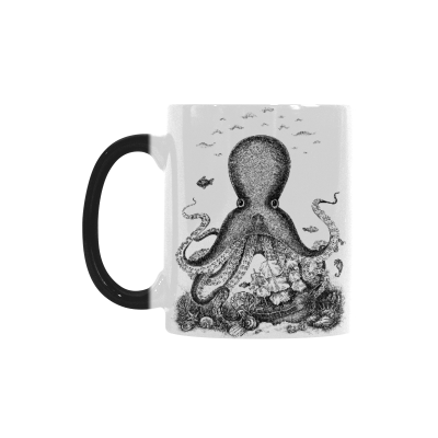 InterestPrint 11oz White Background Black Octopus Morphing Mug Heat Sensitive Color Changing Coffee Mug Cup with Quotes, Unique Funny Birthday Christmas Gifts for Men Women Him Her Mom Dad