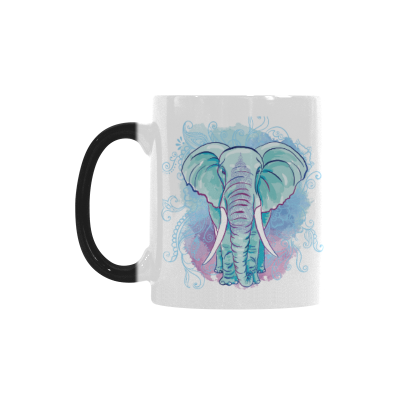 InterestPrint 11oz Watercolor Blot Indian Elephant Morphing Mugs Travel Heat Sensitive Color Changing Coffee Mug Cup with Quotes, Unique Funny Birthday Christmas Gifts for Men Women Him Her Mom Dad