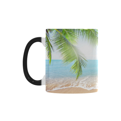 InterestPrint Tropical Coconut Palm Tree Summer Nature Sea Ocean Beach Hawaii Morphing Mug Heat Sensitive Color Changing Coffee Mug Cup, Christmas Gifts for Men Women Him Her Mom Dad