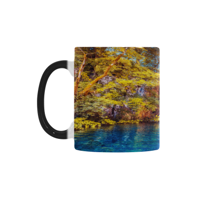InterestPrint Autumn Nature Waterfall Morphing Mug Heat Sensitive Color Changing Coffee Mug Cup, Funny Fall Sunny Forest Coffee Mug Christmas Birthday Gifts