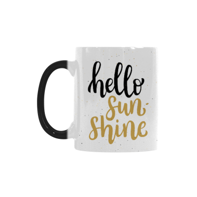 InterestPrint Kitchen & Dining Brush ink Lettering Hello Sunshine Morphing Mug Heat Sensitive Color Changing Mug Ceramic Coffee Mug Cup White 11 oz Black Golden