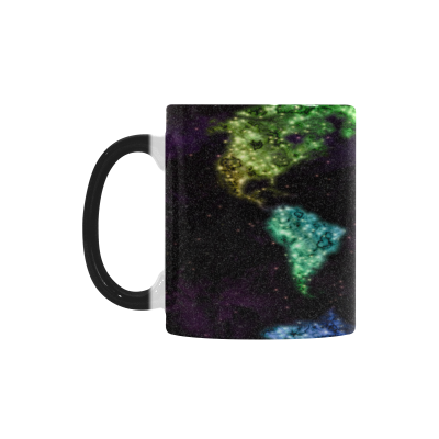 InterestPrint Abstract Watercolor World Map Morphing Mug Heat Sensitive Color Changing Coffee Mug Cup, Funny Map of The World Splatter Purple Coffee Mug Christmas Birthday Gifts