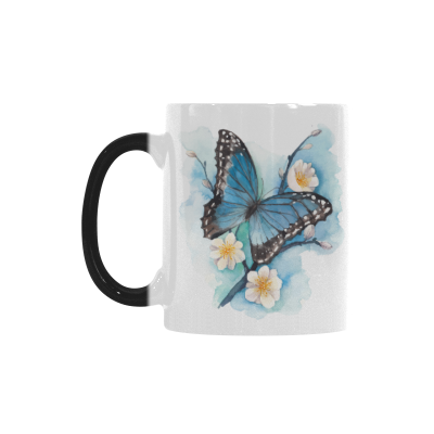 InterestPrint 11oz Watercolor Butterfly on Blossom Plum Tree Branch Morphing Mug Heat Sensitive Color Changing Coffee Travel Mug Cup with Quotes, Friends Friendship Mom Funny Unique Christmas Gifts