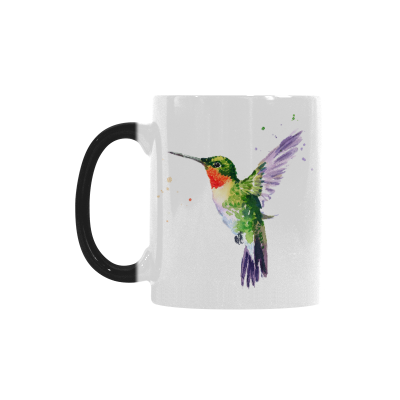 InterestPrint Watercolor Bird Hummingbird Morphing Mug Heat Sensitive Color Changing Coffee Mug Cup, Funny Wildlife Animal Print Artwork Coffee Mug Christmas Birthday Gifts