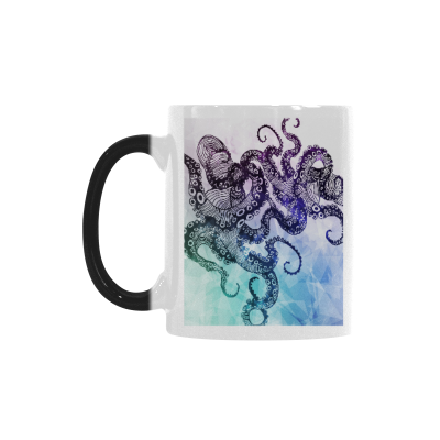 InterestPrint 11oz Hand Drawn Abstract Ocean Animal Octopus Heat Sensitive Mug Color Changing Mug Morphing Coffee Travel Mug Tea Cup Funny, 11oz Ceramic Mug