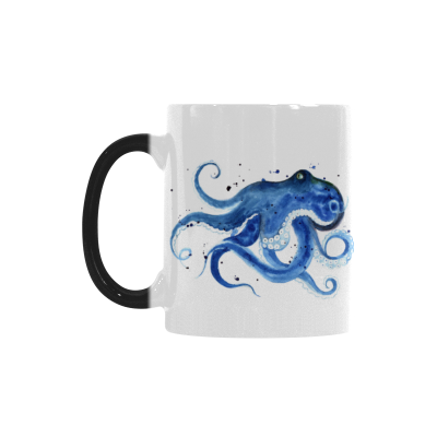 InterestPrint 11oz Watercolor Sketch Blue Octopus Silhouette Heat Sensitive Mug Color Changing Mug Morphing Coffee Travel Mug Tea Cup Funny, 11oz Ceramic Mug