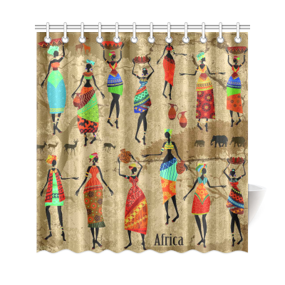 InterestPrint African Art Home Decor,Afro American Women History and Culture Polyester Fabric Shower Curtain Bathroom Sets