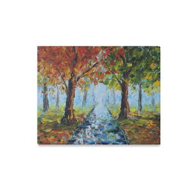 InterestPrint Original Oil Painting Rain In Autumn Tree Road Impressionism Art Canvas Wall Print