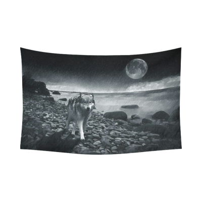 InterestPrint Animal Wall Art Home Decor, Sad Wolf under the Moonlight on the Ocean Coast Cotton Linen Tapestry Wall Hanging Art Sets