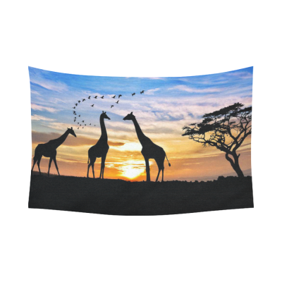 InterestPrint Beautiful Nature Landscape Wall Art Home Decor, Animal Giraffes in the African Sunset Cotton Linen Tapestry Wall Hanging Art Sets