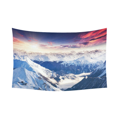 InterestPrint Beauty World Landscape Wall Art Home Decor, Colorful Sky with Snow Mountain Cotton Linen Tapestry Wall Hanging Art Sets