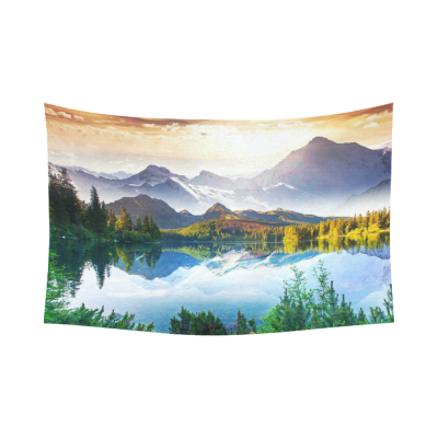 InterestPrint Beautiful Nature Landscape Wall Art Home Decor, Fantastic Sunny Day is in Mountain Lake Cotton Linen Tapestry Wall Hanging Art Sets