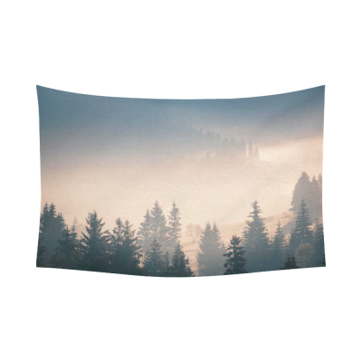InterestPrint Beautiful Nature Landscape Wall Art Home Decor, Fog over Mountain Range in Sunrise Cotton Linen Tapestry Wall Hanging Art Sets