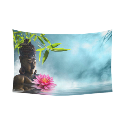 InterestPrint Landscape Wall Art Home Decor, Buddha Meditation Lotus Bamboo Cotton Linen Tapestry Wall Hanging Art Sets