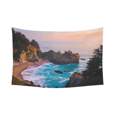 InterestPrint Landscape Nature Scenery Wall Art Home Decor, California Ocean waterfall mountain at Sunset Cotton Linen Tapestry Wall Hanging Art Sets