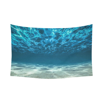 InterestPrint Underwater Wall Art Home Decor, Bright Gravelly Bottom and Wavy Surface Tropical Seascape Ocean View Cotton Linen Tapestry Wall Hanging Art Sets
