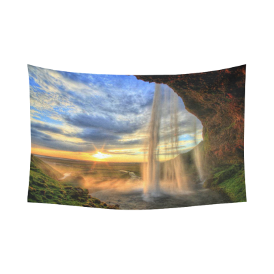 InterestPrint Landscape Nature Scenery Wall Art Home Decor, Waterfall Mountain at Sunset, Iceland Cotton Linen Tapestry Wall Hanging Art Sets