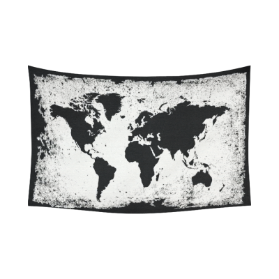 InterestPrint Global Decor, Vintage Retro World Map Cotton Linen Tapestry Wall Hanging Art Sets
