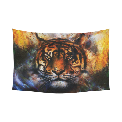 InterestPrint Animal Wall Art Home Decor, Watercolor Tiger Cotton Linen Tapestry Wall Hanging Art Sets