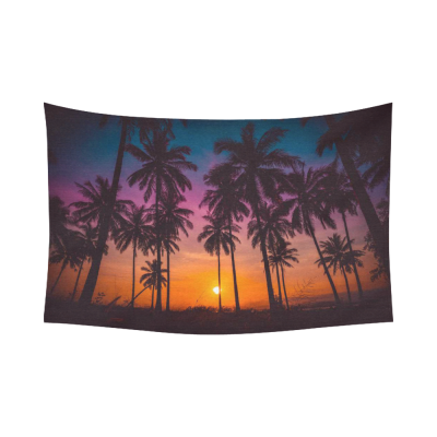 InterestPrint Landscape Nature Scenery Wall Art Home Decor, Coconut Palm Trees on Beach at Sunset Cotton Linen Tapestry Wall Hanging Art Sets