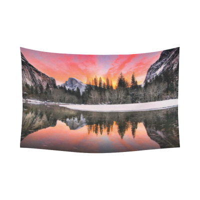 InterestPrint Mountain Wall Art Home Decor, Nature Landscape of Yosemite National Park, California Cotton Linen Tapestry Wall Hanging Art Sets