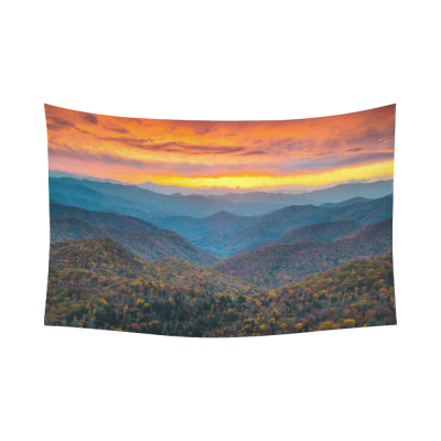 InterestPrint Landscape Wall Art Home Decor, North Carolina Blue Ridge Parkway Mountains Sunset Cotton Linen Tapestry Wall Hanging Art Sets
