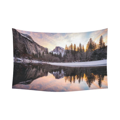 InterestPrint Sunset Landscape Wall Art Home Decor, Reflection of Half Dome at Yosemite National Park Scenery Cotton Linen Tapestry Wall Hanging Art Sets