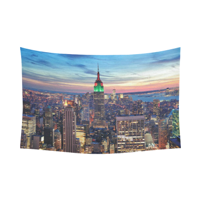 InterestPrint Cityscape Wall Art Home Decor, New York City Skyline With Skyscrapers,the Empire State Building Cotton Linen Tapestry Wall Hanging Art Sets