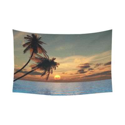 InterestPrint Tropical Seascape Wall Art Home Decor, Sunset Coconut Palm Trees on a Beach Cotton Linen Tapestry Wall Hanging Art Sets