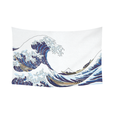 InterestPrint Japanese Wall Art Home Decor, The Great Wave Off Kanagawa Pattern Cotton Linen Tapestry Wall Hanging Art Sets