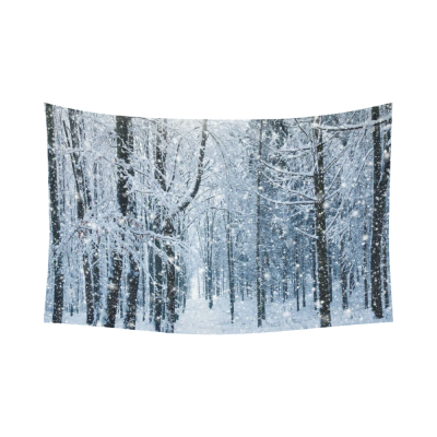 InterestPrint Winter Landscape Wall Art Home Decor, Snowy Trees Forest Scenery Black White Cotton Linen Tapestry Wall Hanging Art Sets