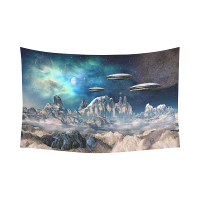 InterestPrint Fantasy Wall Art Home Decor, Alien Planet With Spaceships Cotton Linen Tapestry Wall Hanging Art Sets