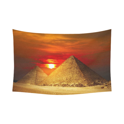 InterestPrint City Landscape Wall Art Home Decor, Egyptian Pyramids in Giza Valley under Sunset Cotton Linen Tapestry Wall Hanging Art Sets