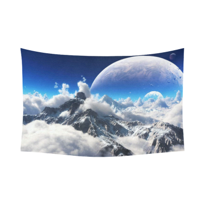 InterestPrint Fantasy Wall Art Home Decor, Celestial View of Snow Mountains and Alien Planet Cotton Linen Tapestry Wall Hanging Art Sets