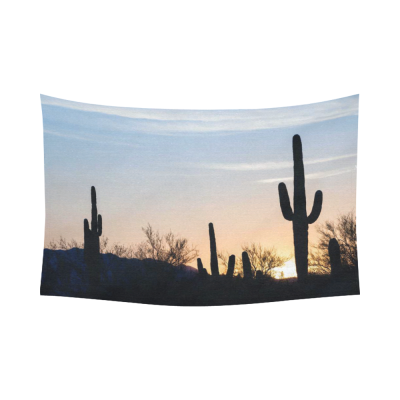 InterestPrint Nature Scenery Wall Art Home Decor, Arizona Desert Landscape at Sunset with Saguaro Cactus Cotton Linen Tapestry Wall Hanging Art Sets